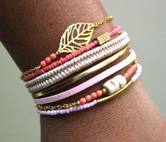 Joli bracelet romantique femme multirang fait main,collection Printemps-Été 2016, Elyfly Boutique 21,70 euros