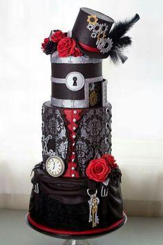 Goth Steampunk Wedding Cake by Cake Babes