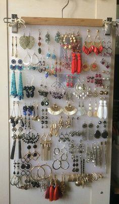 earring holder - hanger - Evelyn Kariuki - Pint - DIY earring holder – hanger – Evelyn Kariuki – -DIY earring holder - hanger - Evelyn Kariuki - Pint - DIY earring holder – hanger – Evelyn Kariuki – - Jewelry Organizer Wall Display J. Diy Earring Holder, Diy Jewelry Holder, Jewelry Organizer Wall, Jewelry Hanger, Jewellery Storage, Earring Display, Earring Hanger, Earing Organizer, Jewelry Stand