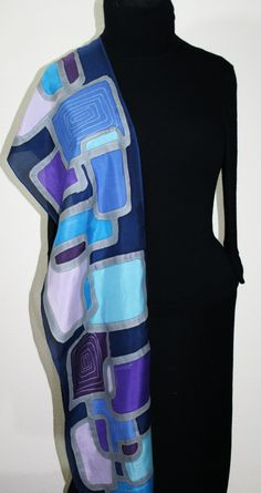 Hand Painted Silk Scarf Jazz Club. Silk Scarf in Blue and Purple. Size 11x60. Made in Colorado. 100% silk. MADE TO ORDER.. $43.00, via Etsy.