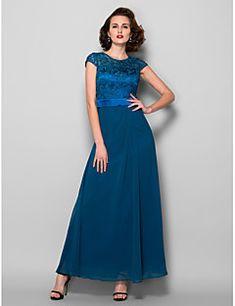 a-line κόσμημα λαιμό αστράγαλο μήκους αστράγαλο μητέρα του νυφικού φόρεμα με φτερό μπορντώ από lan ting bride®