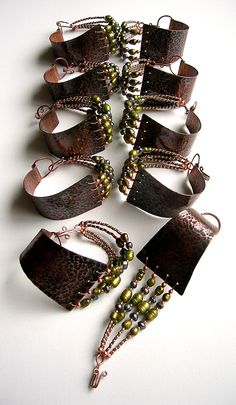 Copper and Beaded Bracelets