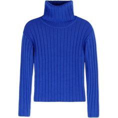 Dkny Long Sleeve Jumper ($295) ❤ liked on Polyvore featuring tops, sweaters, bright blue, long sleeve tops, dkny sweaters, turtleneck sweater, ribbed sweater and long sleeve sweaters