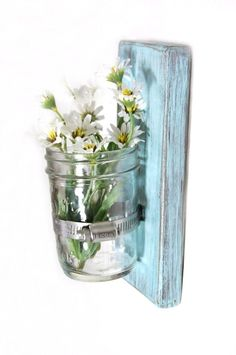 Shabby chic decor wood single wall vase cottage style in LIGHT TURQUOISE. $22.00, via Etsy.