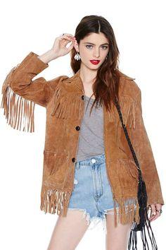 Vintage Raquela Suede Fringe Jacket