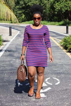 Curves and Confidence   Inspiring Curvy Women One Outfit At A Time: Weekend Wear: Stripe Dress and Huge Puff