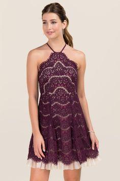 Rydel Y Neck Lace Tulle Hem A-line Dress