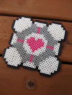 Perler bead coaster Companion Cube / Portal for the kids to give Daddy