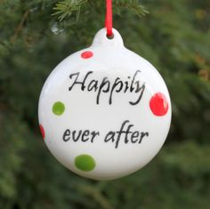 Happily Ever After Custom Wedding Ornament First Married Christmas First Christmas Custom Wedding Gift. $24.00, via Etsy.