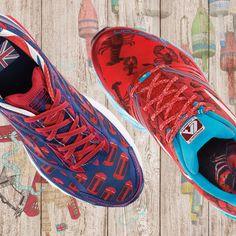 Brooks Launch 2 running shoe. Special editions for Boston Marathon 2015 and London Marathon 2015. Boston Lobster theme. London phone booth theme.