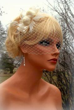 Ivory Bridal Fascinator with French Net Veil  by kathyjohnson3, $58.00