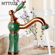 52.65$  Buy here - http://alitpx.shopchina.info/1/go.php?t=32799415911 - MTTUZK Rose Gold Artificial Jade Basin Faucet Vintage Tap 360 Swivel Spout Brass Cold Hot Mixer Classic Luxury Basin Faucet Tap  #shopstyle