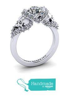Skull Engagement Ring made in 14k White Gold with White Diamonds- UDINC0326 from Until Death, INC https://www.amazon.com/dp/B015HJKPJY/ref=hnd_sw_r_pi_awdo_t-k9wbTC2FD1X #handmadeatamazon