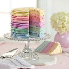 Rainbow cake for a baby shower.