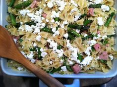 Ham and Asparagus Pasta Salad with Crumbled Goat Cheese...Cooper would love it.