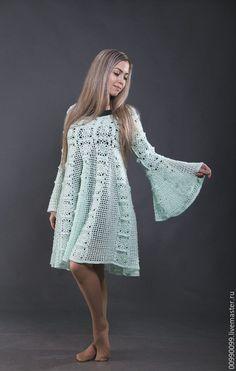 Купить Платье из кролика мятное - мятный, однотонный, платье вязаное, платье вязаное крючком