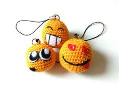 Emoji keychain Crochet smiley charm Emoticons keyring Party favors keychains Yellow smiley face pendant Small Gift for friends Soft keychain by OlchussToys on Etsy