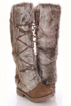 Tan Faux Fur Lace Up Tie Faux Leather Boots