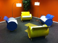 55-gallon steel drums repurposed into amazing furniture collection ...