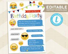 Emoji Party Invitation / Iphone Invitation / Emoji birthday Party / digital printable / Instant Download / for boy / editable / smiley