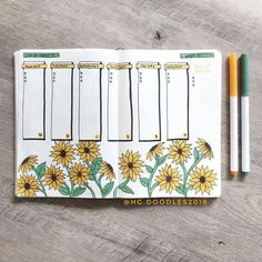 sunflower bullet journal layout Its been a popular theme during summer! So we have forund 43 sunny stunning sunflower bullet journal layout ideas and spreads to show you and Bullet Journal August, Bullet Journal Inspo, Bullet Journal Tracker, Bullet Journal Aesthetic, Bullet Journal Notebook, Bullet Journal Spread, Bullet Journal Layout, Bullet Journals, Kalender August