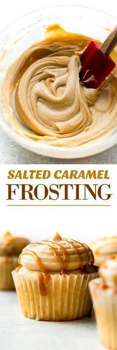 5 ingredients and so easy! This creamy salted caramel frosting is downright addicting! Recipe on sallysbakingaddiction.com Carmel Buttercream Frosting, Carmel Frosting Recipe, Carmel Icing, Easy Cupcake Frosting, Easy Icing Recipe, Cooked Caramel Icing Recipe, Easy Cupcake Icing Recipe, Angel Food Cake Icing, Cookie Frosting