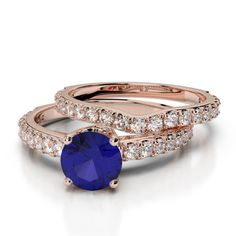 Gold / Platinum Round cut Tanzanite and Diamond Bridal Set Ring Ruby Rose, Rose Gold, Bridal Ring Sets, Gold Platinum, Black Diamond, Emerald, Gold Rings, Sapphire, White Gold
