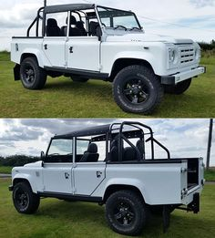 "Bespoke and refurbished LR D110 by @hayward_revive - ""retro fitted"" with the 200tdi engine, upgraded interior trim, improved interior soundproofing, black mohair top (not shown), LED's, chequer plating, and countless other features. It also comes with a one-year warranty! - SOURCE: Hayward Revive @hayward_revive / #landrover #rangerover #car #desire #bespoke #expedition #defender110 #adventure #classylady #defender #design #travelawesome #britishcars #rangeroversport #britishcar #icon #e..."
