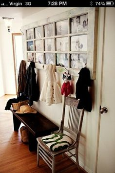 Use old door frames for photo frames and hangers!!!