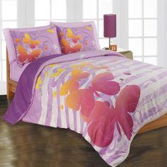 Loft Style Teen Butterfly Comforter Set - teenage girl bedroom ideas