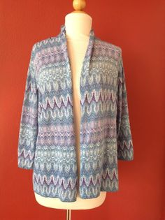 CHICO'S Blue Metallic Open Front Cardigan Sweater Size 1 #Chicos #Cardigan