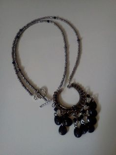 Silver Beaded Necklace with Black Glass crystals with Pendant  by laurenengler2012, $20.00 available for purchase @ http://www.etsy.com/shop/laurenengler2012