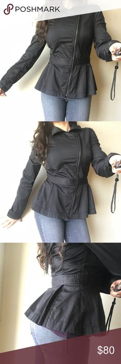 A/X Armani Exchange Black Peplum Moto Jacket M Super cute  A/X Armani Exchange  Black Peplum Moto Zip Up Jacket  Size M Beautiful jacket. Perfect for fall. Excellent like new condition. Got so many compliment while wearing it and you will too. A/X Armani Exchange Jackets & Coats Trench Coats