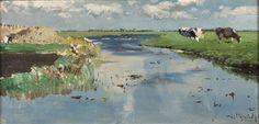 Willem Roelofs - May in Noorden. 48 x cm, Oil on panel, Haags Gemeentemuseum, The Hague Seascape Paintings, Landscape Paintings, Art Prints Uk, Dutch Painters, The Hague, Color Studies, Art History, Printmaking, Holland