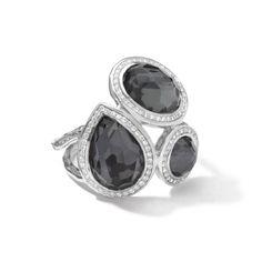 "IPPOLITA Lollipop Ring in Sterling Silver with Diamonds, Hematite, Sterling SilverGemstones: Onyx, DiamondDiamond Carat Weight: .37Stone Length: .94 Width: .88"""