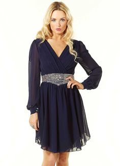 little mistress long sleeve embellished chiffon dress dresses