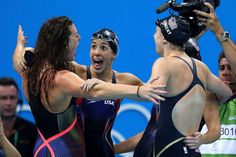 Golden girls:    Team USA, comprising Katie Ledecky, Allison Schmitt, Leah Smith and Maya DiRado, celebrate their gold win at the 4x200 m freestyle relay.     -   2016 Rio Olympics: Highs and lows from day five