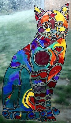 WICOART STICKER WINDOW COLOR CLING FAUX STAINED GLASS POP ART CAT CHAT GATTO 3