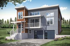 Our brand new contemporary house plan for a narrow building lot.
