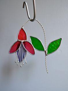Fuchsia  Stained Glass Suncatcher by dortdesigns on Etsy