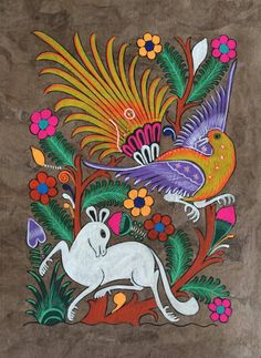 Mexican Hispanic Amate Bark Paper Folk Art Painting