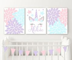 3 Unicorn Cat Rabbit Bunny Prints Personalised Name Wall Art Nursery Pictures