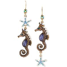 Betsey Johnson Gold-Tone Seahorse Mismatch Drop Earrings ($45) ❤ liked on Polyvore