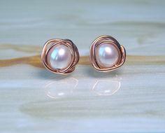 Pearl 14k Rose Gold Stud Earrings, White Freshwater Pearl Stud Earrings, Wedding Jewellery, Pearl Earrings, Gift Ideas, Bridesmaids Gifts, by deezignstudio on Etsy https://www.etsy.com/listing/159096267/pearl-14k-rose-gold-stud-earrings-white