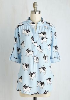Bowwow Are You? Top. Youre sure to feel canine and dandy in this sky blue blouse! #multi #modcloth