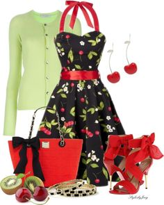 """Cherry Kiwi"" by stylesbyjoey ❤ liked on Polyvore- This outfit reminds me of Ms. Frizzle from the Magic School Bus Books :D"