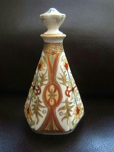 NORITAKE Japan ornate PERFUME BOTTLE with corked stopper BLUE MARK early 20thC
