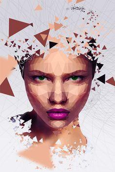 Retrato poligonal no Photoshop. Tutorial no Tutoriart