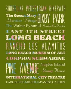 Long Beach California Typography Poster/Bus/ by LegacyHouseArt, $42.95