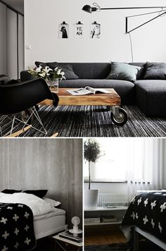Eames rocking chair, black sheepie, low couch & caster wheel table = awesome. Photography by Kristofer Johnsson.